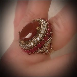 Size 10.5 Ruby Ring Solid 925 Sterling Silver/Gold